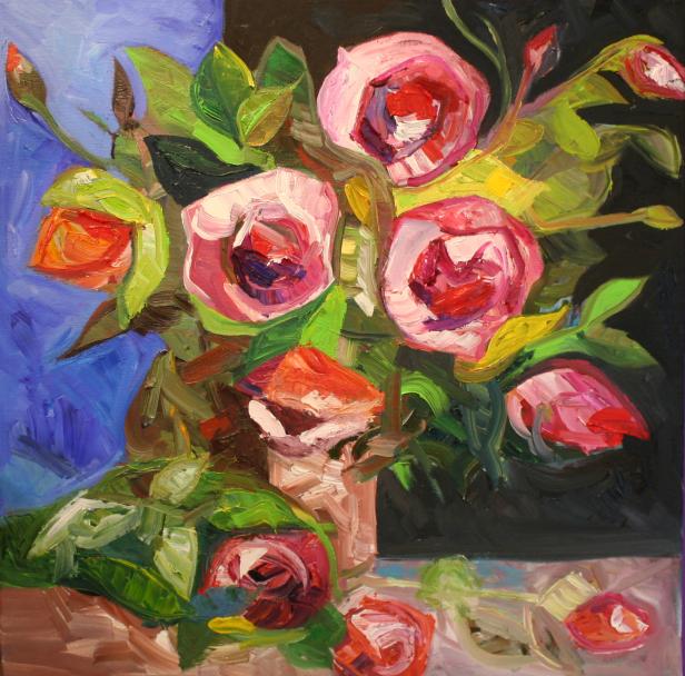 BARBARA LICHTenegger, 2015, Öl auf Leinwand, Blumenpracht, 50 x 50 cm