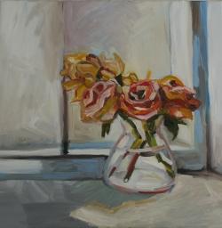 Rosen am Fenster (50 x 50 cm, 2015, Öl auf Leinwand)