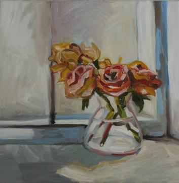 BARBARA LICHTenegger, Rosen am Fenster, 2015, Öl auf Leinwand, 50 x 50 cm