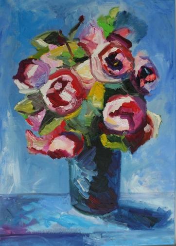 Blumenstrauß (70 x 50 cm, 2015, Öl auf Leinwand)