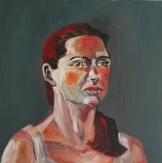 Rothaarig (50 x 50 cm, 2014, Öl auf Leinwand)
