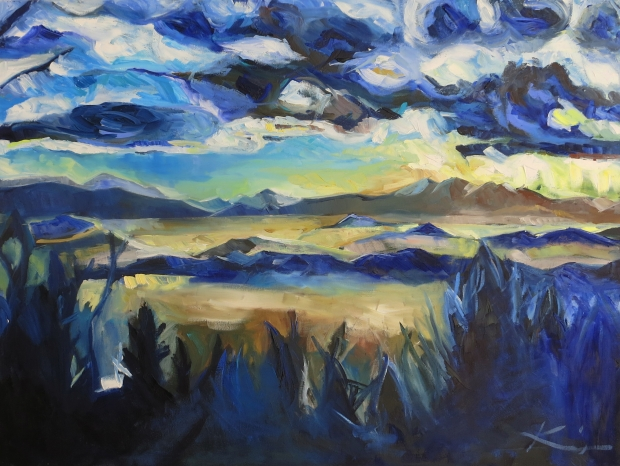 Barbara Kimeswenger, Berglandschaft, 2015, Öl auf Leinwand, 60 x 80 cm