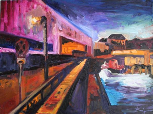 Barbara Kimeswenger, Lentos bei Nacht 2017, Öl auf Leinwand, 60 x 80 cm