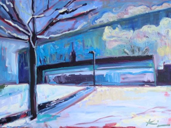 Barbara Kimeswenger, Lentos im Schnee, 2018, Öl auf Leinwand, 60 x 80 cm
