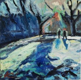 Barbara Kimeswenger, Puchenau verschneit 2, 2017, Öl auf Leinwand, jeweils 50 x 50 cm