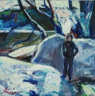 Barbara Kimeswenger, Puchenau verschneit 1, 2017, Öl auf Leinwand, 50 x 50 cm
