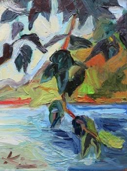 Barbara Kimeswenger, Blätterwerk an der Donau, 2017, Öl auf Leinwand, 30 x 40 cm