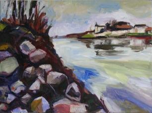 Barbara Kimeswenger, Willeringer Ufer – Blick nach Ottensheim, 2017, Öl auf Leinwand, 60 x 80 cm
