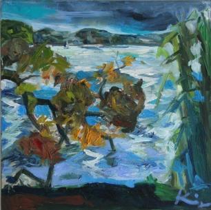 Barbara Kimeswenger, Baum trifft Wasser, 2016, jeweils Öl auf Leinwand, 50 x 50 cm