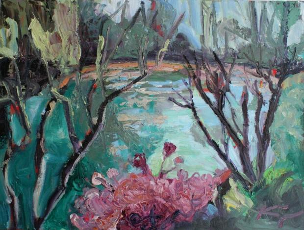 Barbara Kimeswenger, Am See in Giverny, 2017, Öl auf Leinwand, 60 x 80 cm