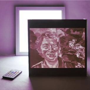 BARBARA LICHTenegger, light painting: Portrait: Bei den Rosen, 2019, 3D print/lithophane, 30 x 30 cm (backlighted with different colors)